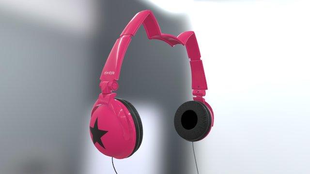 Mix Style Nekomimi Star Headphones Pink 3D Model