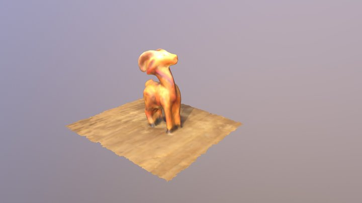Ram - Small Painted Wooden Mexican Sculpture 3D Model