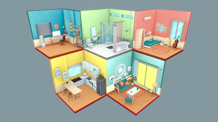 Isometric Room 3D Model