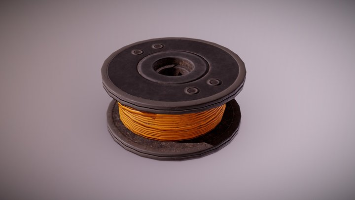 CON - Plastic Wire Spool - PBR Game Ready 3D Model