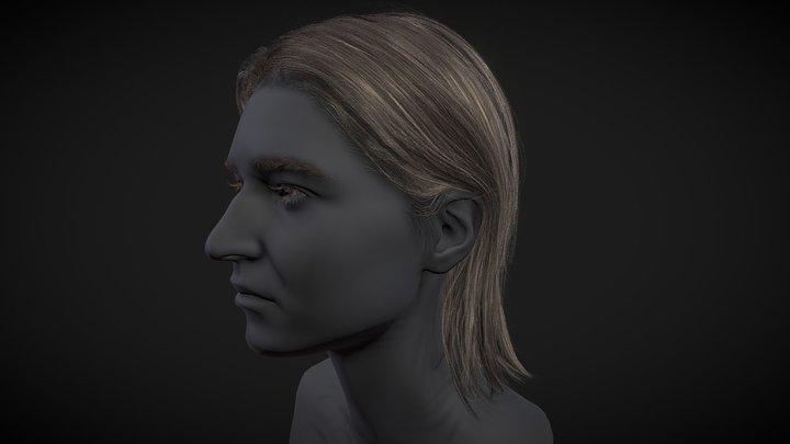 Female Straight medium long haircut 3D Model