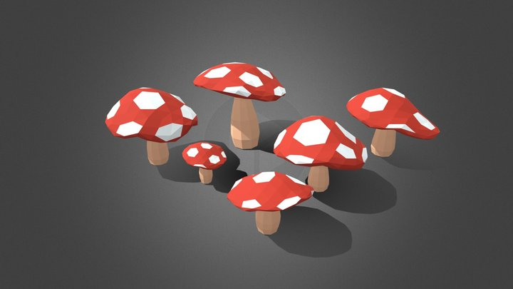 Low Poly Fly Agaric 3D Model