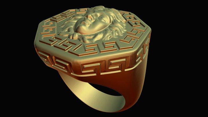 Octogonal Signet Ring Medusa 3D Model