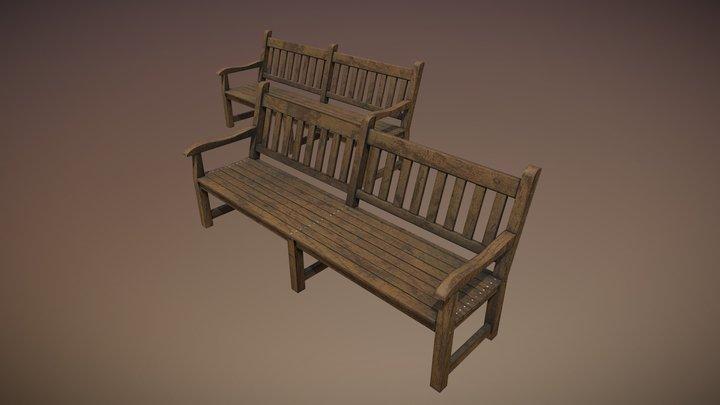 Wooden bench_HPvsLP 3D Model