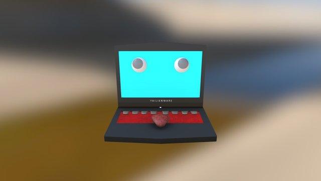 Googly-Eyed Laptop 3D Model