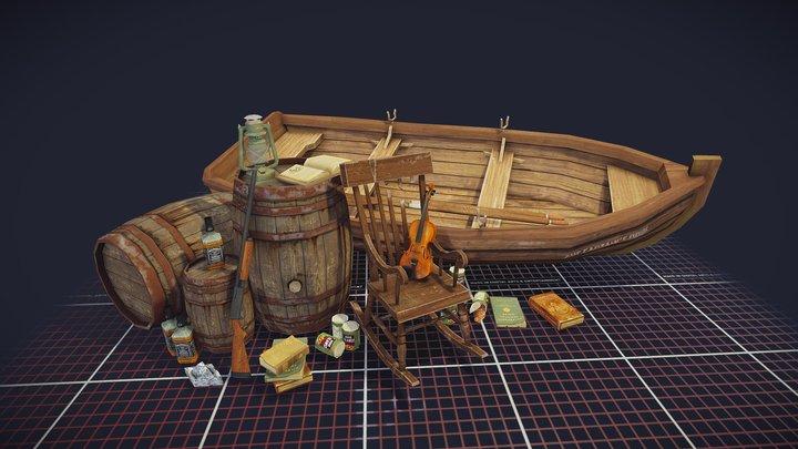 "Q-week assignment : 5 props ""Forest loner"" 3D Model"