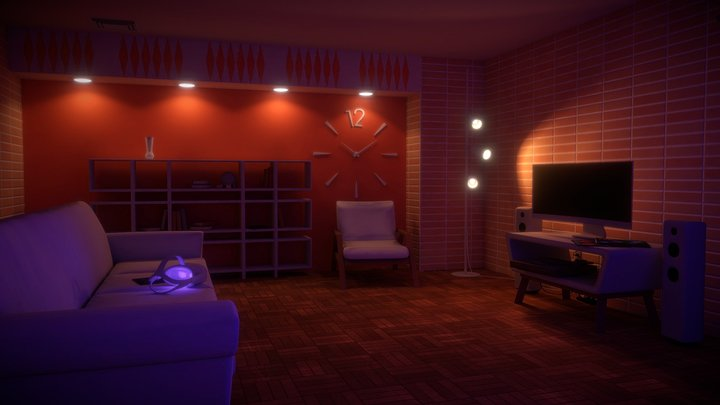 High-Rise Mid-Century Apartment Room for VR 3D Model