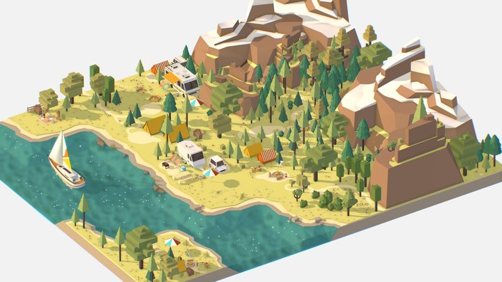 isometric style camping level constructor 3D Model