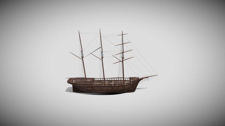Ceiba - Structure of a Wooden Cargo Schooner 3D Model