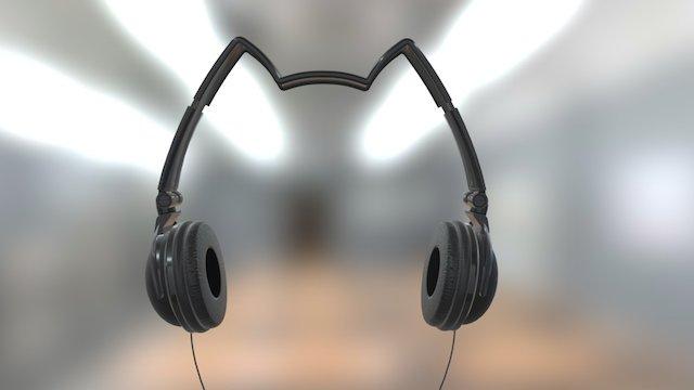 Mix Style Nekomimi Star Headphones Black 3D Model