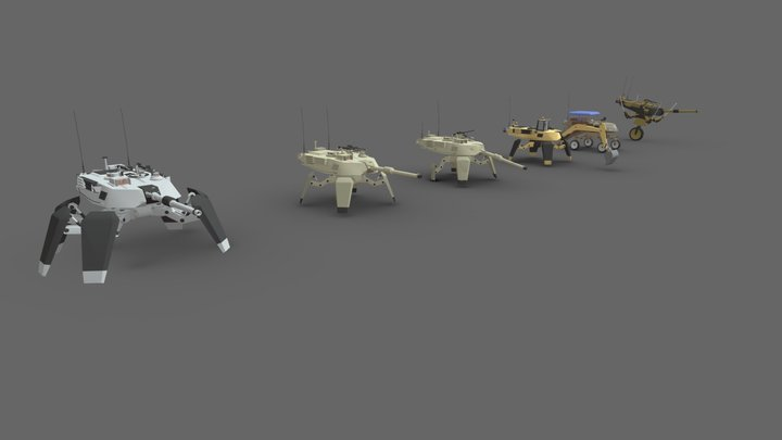 5 Spider Tanks 3D Model