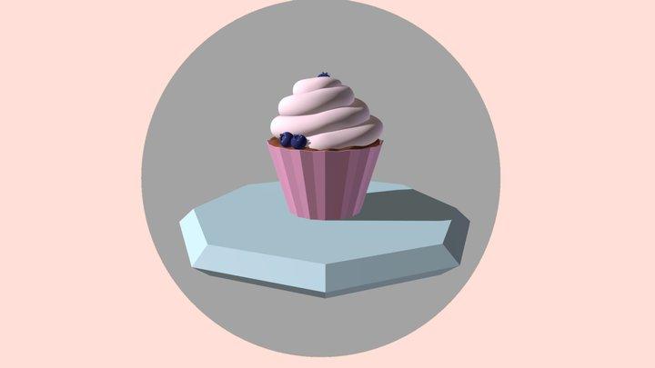 Blueberry Cupcake 3D Model