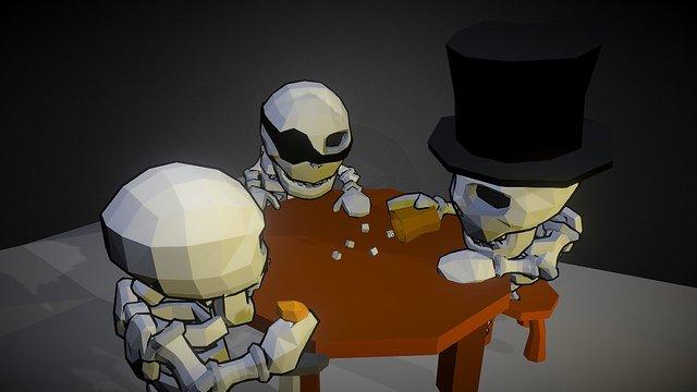 Gambling skeletons scene 3D Model