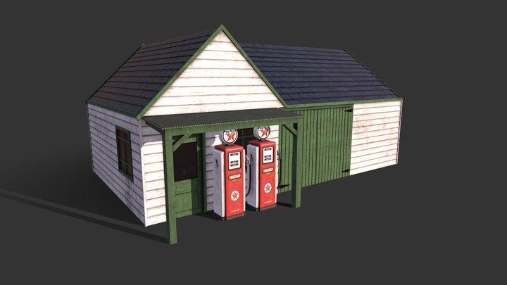 50's Petrol Garage 3D Model