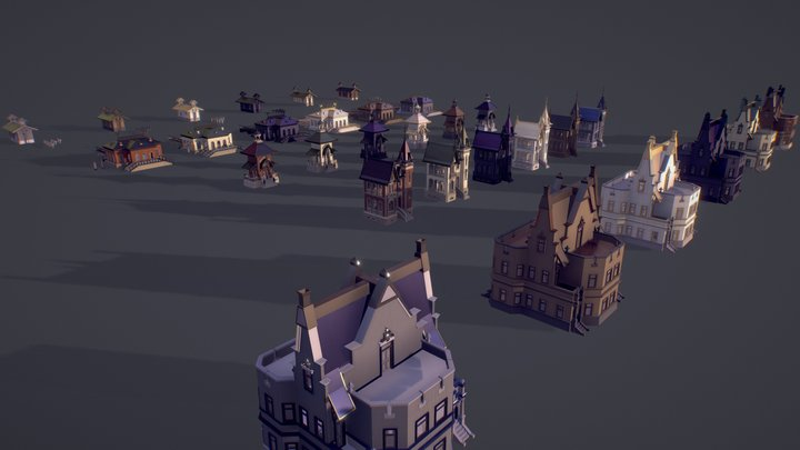 Victorian Style Village (Low Poly) 3D Model
