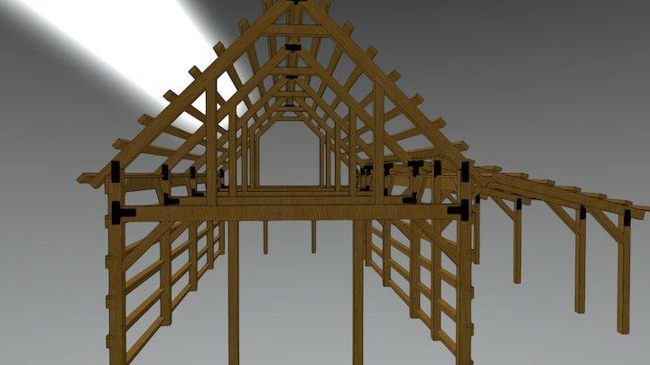 20x40 Gable Barn Plans Model 3D Model