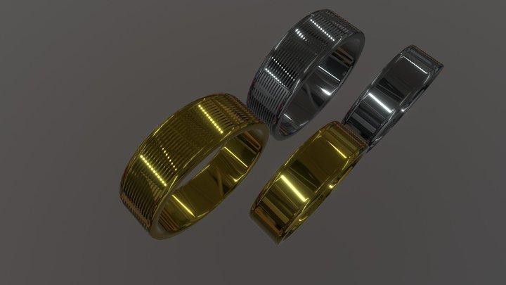 Anillos De Oro Y Plata 3D Model