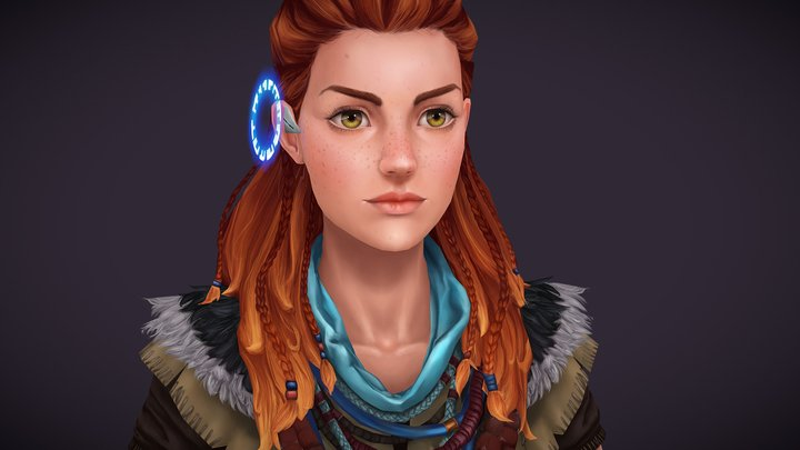 Aloy - Horizon Zero Dawn - Hand painted bust 3D Model