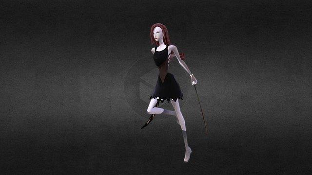 Cartoony Escping Maid_Running Loop 3D Model