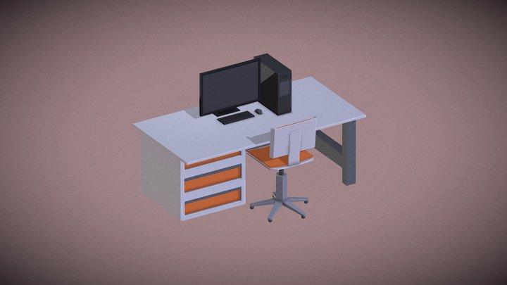 Low-Poly: Minimal Work Station 3D Model