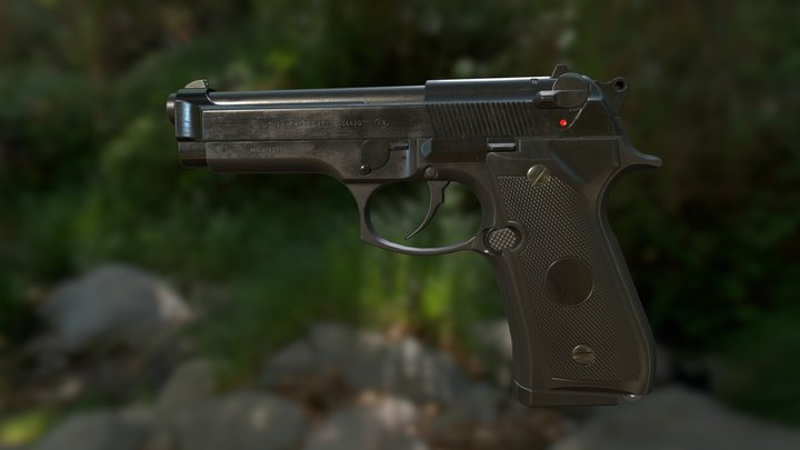 Beretta M9 Pistol Game-Ready 3D Model