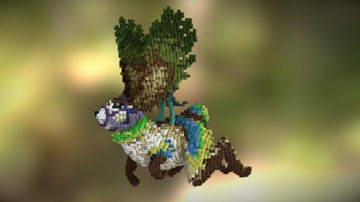 Fantasy Rabbit - Minecraft Sculpture 3D Model