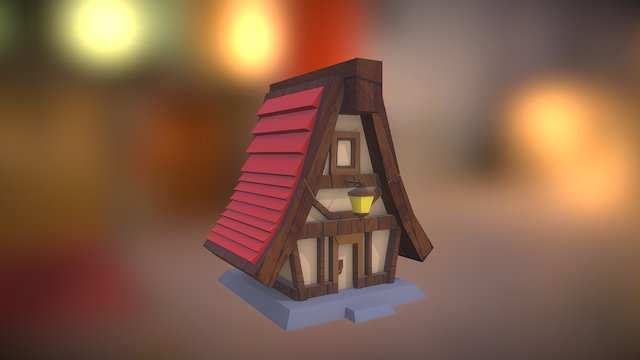 Casa con texturas simple 3D Model