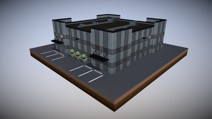 Commercial Park Building 4W4D 3D Model