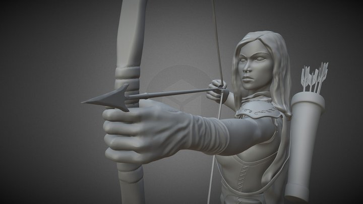 TableTopWars - Female Archer 3D Model