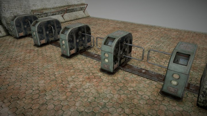 Fallout 4: Capital Wasteland - Metro TurnStiles 3D Model
