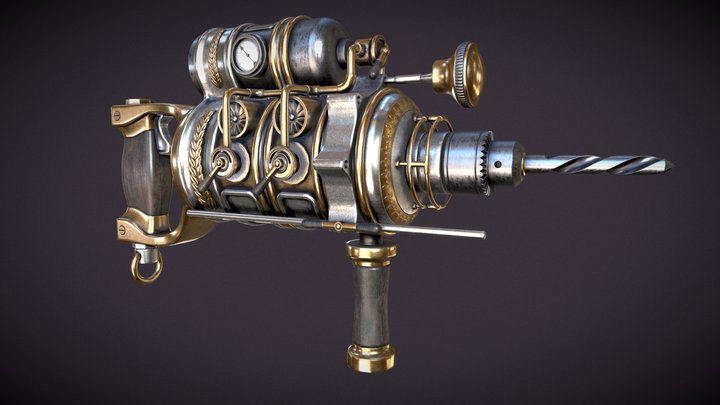 Steampunk drill-perforator 3D Model