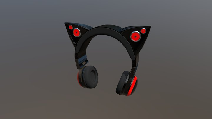 Cat Headphones 3D Model