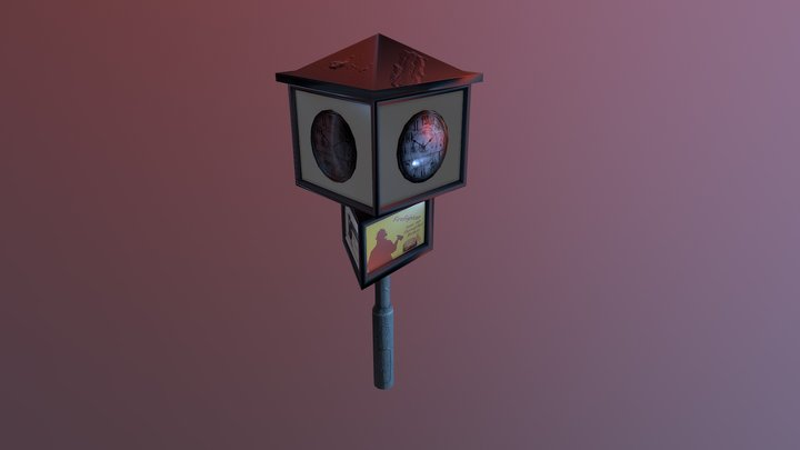 Street Clock Game Asset used in Cities Skylines 3D Model