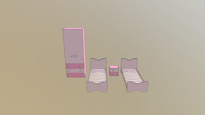 Armdio e due letti a fiocco 3D Model