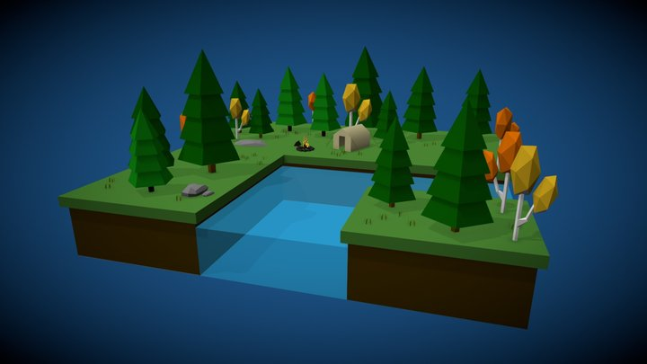 Low Poly Camping Scene 3D Model