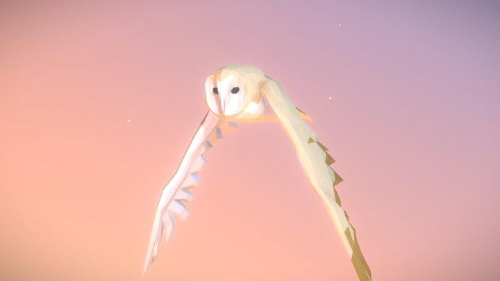 Low Poly Bird: Barn Owl 3D Model