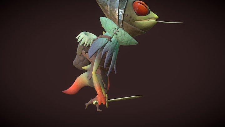 Lizard Walk Cycle Pass_02 3D Model