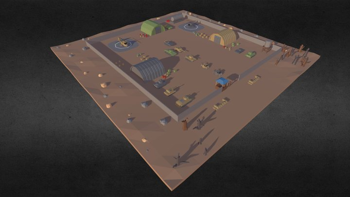 Low Poly Military Base Pack 3D Model