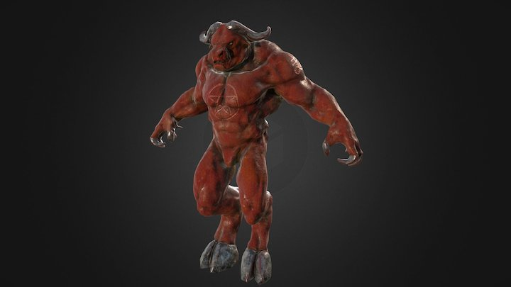 Minotaur Retopo w/ Textures 3D Model