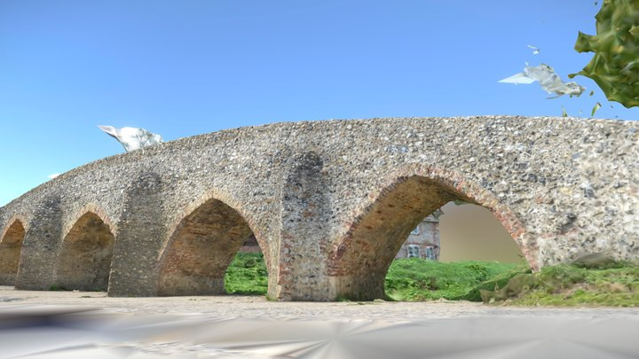 Moulton Packhorse Bridge, Suffolk, UK 3D Model