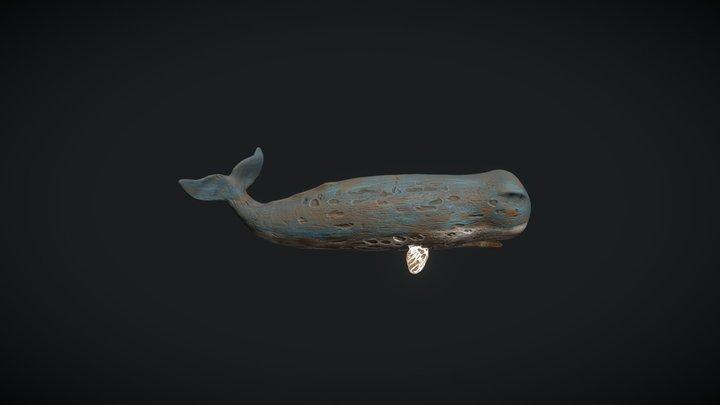 Blue Wood haven Whale Figurine 3D Model