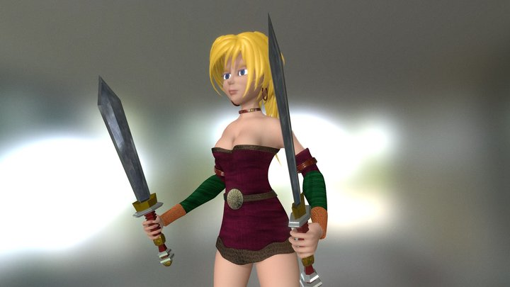 Fantasy Game Character Woman Warrior 3D Model