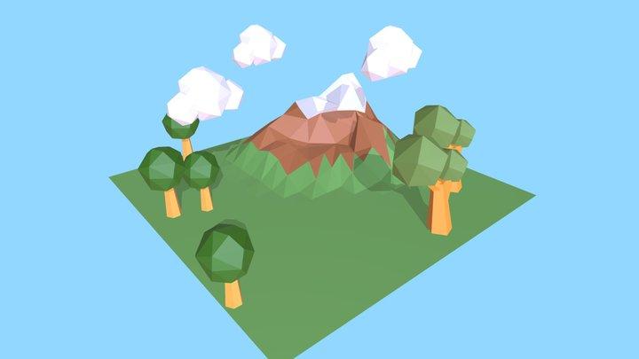 Low poly mountain scene 3D Model