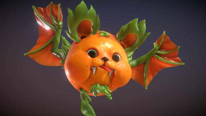 Orange Fruit Bat - Animated 3D Model