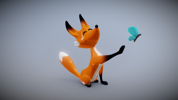 The Fox & The Butterfly 3D Model
