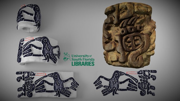 Roller Stamp with Speech Scroll 3D Model