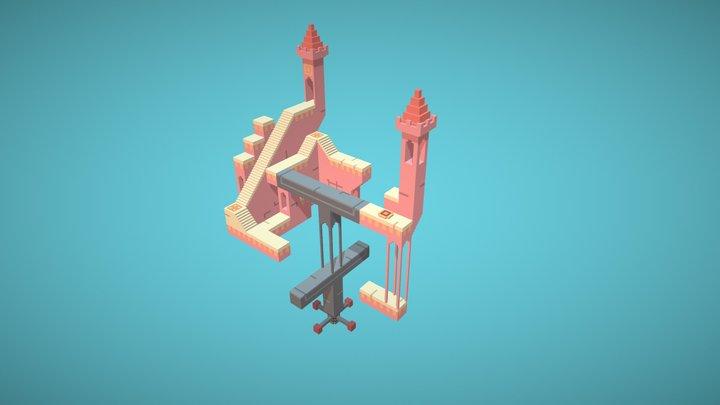 Voxel Art Scene 3D of Monument Valley Videogame 3D Model