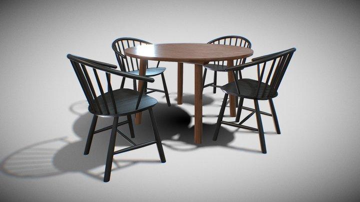 DiningSet V-03-Taro Table and JohanssonJ64 Chair 3D Model