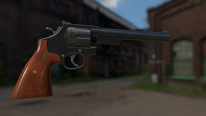 44 Magnum Revolver Game-Ready 3D Model