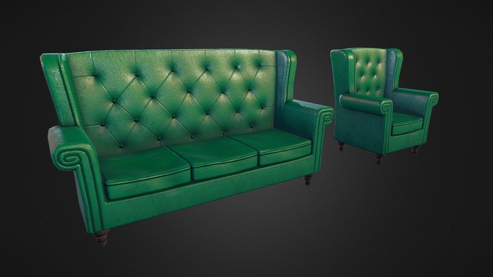 Chair & Couch 3D Model